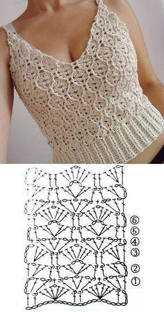 10 modelos de blusa de crochê com gráfico do ponto ⋆ De Frente Para O Mar # Вязание крючком Débardeurs Au Crochet, Pull Crochet, Mode Crochet, Crochet Shirt, Crochet Diagram, Crochet Woman, Crochet Cardigan, Crochet Vests, Crochet Stitches Patterns