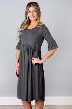 Casual Gray Ruffle Half Sleeve Midi Jersey Dress Modest Dresses, Sexy Dresses, Dresses For Sale, Casual Dresses, Short Sleeve Dresses, Midi Dresses Online, Ruffle Sleeve, Dress Brands, Half Sleeves