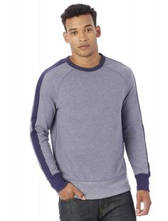 Alternative Vintage Sport French Terry University Pullover Sweatshirt Vintage Navy