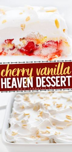 Cherry Vanilla Heaven Dessert is an angel food cake layered with cherries, vanilla pudding, and whipped cream! This light and fluffy dessert is easy to make and will be a favorite to share at a pot luck or holiday gathering. Pin this easy dessert to impress! Potluck Desserts, Pudding Desserts, Sweet Desserts, Easy Desserts, Angel Food Cupcakes, Angel Food Cake, Easy Cake Recipes, Dessert Recipes, Easy Impressive Dessert