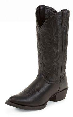 0fa61ba15329 Justin Western Boots Men Cowboy Round Deer Bent Rail D Black 2553