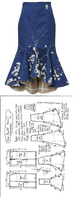Sewing Skirts Saia Mulet sereia – DIY – molde, corte e costura – Marlene Mukai - Шитье Dress Sewing Patterns, Clothing Patterns, Pattern Sewing, Skirt Patterns, Pattern Drafting, Coat Patterns, Blouse Patterns, Diy Clothing, Sewing Clothes