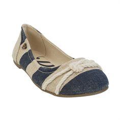 Roxy Aiden Nautical Ballet Flat #VonMaur #Roxy #Navy #White