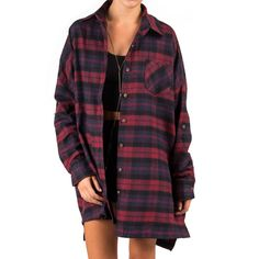 Plaid Flannel Shirt Dress Plum ($34) ❤ liked on Polyvore featuring tops, dresses, shirts and outfits