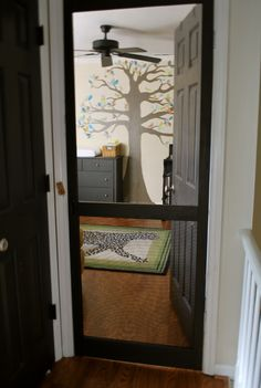 screen door on nursery...great if you have cats!