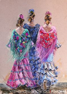 Ballet Drawings, Ballerina Painting, Spanish Dancer, Dress Illustration, Southwestern Art, Batik Art, Gypsy Women, Flamenco Dancers, Mexican Art