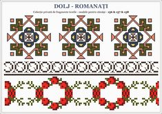 Semne Cusute: traditional Romanian motifs - OLTENIA, Dolj-Romanati Embroidery Sampler, Hand Embroidery, Hama Beads, Traditional Art, Beading Patterns, Pixel Art, Print Design, Folk, Projects To Try