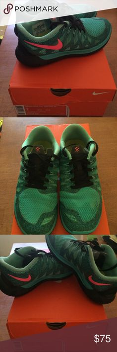 Aqua/Green and Pink Nike Freerun 5.0 Aqua/Green and Pink Nike Freerun 5.0. Worn LIGHTLY, VERY few times, indoor only. Nike Shoes Athletic Shoes