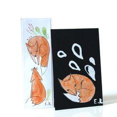 Marque page et carte renard mignon, moderne, fait main modèle unique : Marque-pages par…