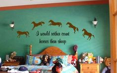 """Horse decal-Horse quote-Vinyl wall sticker-Horse sticker-18 X 48 inches """"I would rather count horses, than sheep"""" $32"""