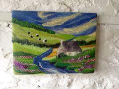 Landscape art, textile art, felt art, by the river, 16x12 inches
