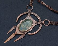 Hand forged copper necklace with labradorite: statement rustic
