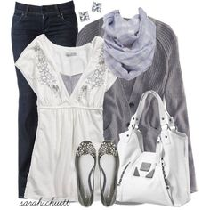AE Solid Girlfriend Cardigan Grey cardigan, white top, black skinny jeans, grey ballet flats