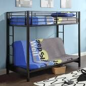Unique Sunset Metal Twin/Futon Bunk Bed in Black by Walker Edison Bunk Beds With Drawers, Bunk Beds With Storage, Metal Bunk Beds, Bunk Beds With Stairs, Bunk Beds For Boys Room, Adult Bunk Beds, Twin Bunk Beds, Kid Beds