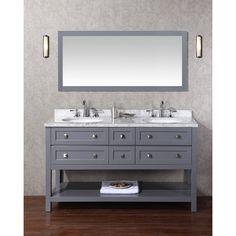Stufurhome Marla 60 Inch Double Sink Bathroom Vanity With Mirror In Grey