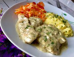 Fileciki z kurczaka w kremowym sosie porowo-koperkowym - Blog z apetytem Food And Drink, Chicken, Meat, Blog, Polish Food Recipes, Blogging, Cubs