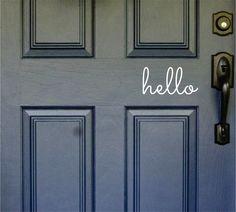 hello Front Door Decal Door Sticker Hello by XcaliburInkGraphX