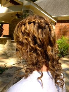 Waterfall braid with T-Swift Curls!    Conair Infiniti Pro Wand or the Remington T-Studio Pearl Ceramic Wand found at Target.  (Ceramic>Metal; ceramic causes the least hair damage!)