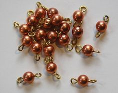 Vintage Copper Beads with Brass Loops Connectors Copper, Brass, Brooch, Trending Outfits, Drop Earrings, Unique Jewelry, Handmade Gifts, Creative, Etsy