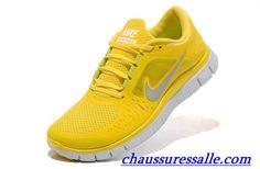 meet 3a1b0 00dae Hommes Nike Free Run +3 Totale Jaune De Chrome Logo Argent Chaussure De  Running