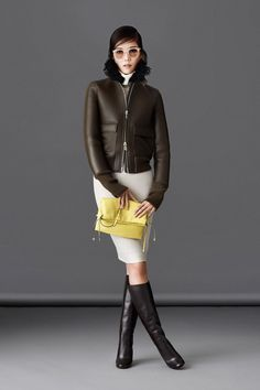 Brown Leather Bomber Jacket + Cream Pencil Skirt- Bally | Fall 2014 Ready-to-Wear Collection | Style.com