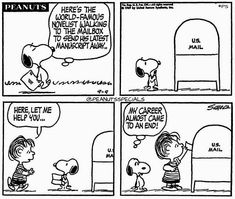 #peanutsspecials #ps #pnts #peanuts #schulz #snoopy #linus #worldfamous #novelist #walking #mailbox #manuscript #career #end #usmail