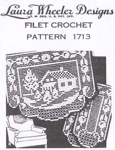 Laura Wheeler Filet Crochet Cottage Chair Set