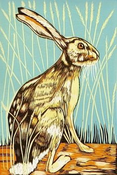 In the Tall Grass - Reduction Linocuts by Marian Carter Grass Carp, Wood Engraving, Woodblock Print, Mammals, Printmaking, Creatures, Lino Cuts, Higher Design, Lino Prints