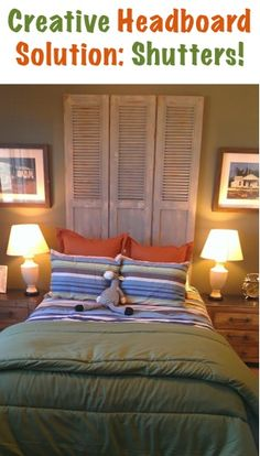 Home Decor Tip: Creative Shutters Headboard! ~ at TheFrugalGirls.com #headboards #bedrooms #thefrugalgirls