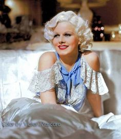 Jean Harlow color photo glam portrait 1930s movie star white silk lace evening gown lingerie blue ribbon bow vintage fashion style