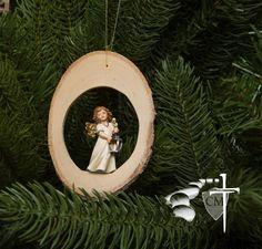 Wood Disc Angel with Lantern