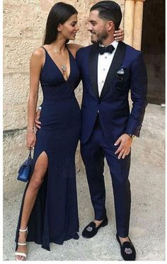 Mermaid Prom Dresses,V-Neck Prom Gown,Navy Blue Prom Dress,Stretch Satin Prom Dress With Split Mermaid … Navy Blue Formal Dress, Split Prom Dresses, Navy Blue Prom Dresses, V Neck Prom Dresses, Homecoming Dresses, Navy Prom Suit, Party Dresses, Navy Gown, Blue Prom Suits For Guys