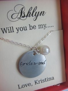 creative way to ask friends to be in wedding | Ask Bridesmaid, Bridal Party Gift, Handstamped necklace. Other Color ...