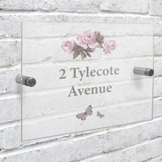 House Number Plaque - Personalised Vintage Rose House Number Plaque