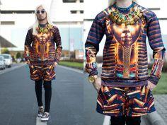 Pharaoh Print Sweater, Bullet Print Shorts, Ken Samudio Egyptian Inspired Neckpiece, Kenzo Flying Tiger Slipons