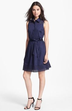 Laundry by Shelli Segal Sleeveless Laser Cut Shirtdress available at #Nordstrom.. cute !!