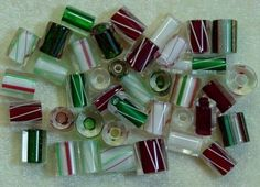 Christmas Mix Red Green White Solid Stripe USA Designer Furnace Cane Glass Beads
