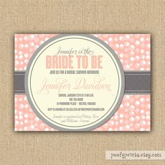 Bride to Be Shower Invitations - Pink and Gray Bridal Shower Printable Invitations