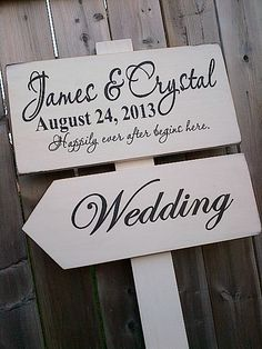 Custom Wedding directional sign by Dressing Room No. 5 in Aylmer, ON.  More signs available at www.etsy.com/shop/dressingroom5.