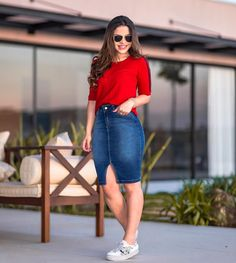 Modest Casual Outfits, Trendy Outfits, Summer Outfits, Cute Outfits, Fashion Wear, Modest Fashion, Fashion Outfits, Denim Skirt Outfits, Skirt And Sneakers