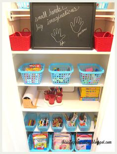 Because we have a small mudroom area (moreto come on that space,)I turned our small coat closet into a arts & crafts closet for Prest...