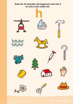 Zoek 10 woorden die beginnen met de h, kleuteridee.nl , taal voor kleuters, free printable.