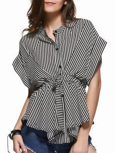 Elegant Stand Collar Waist-Controlled Irregular Striped Ruffles Blouse For Women