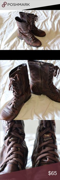 STEVE MADDEN SIZE 7.5 BROWN COMBAT BOOTS Hello! I am selling these Steve Madden combat boots because I have out grown them. They are great quality (obviously) and they are super comfy! Overall great shoe I just don't wear them enough. Steve Madden Shoes Combat & Moto Boots
