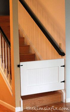 easy custom diy baby pet gate, carpentry  woodworking, diy, home security safety, stairs, This DIY gate is self closing automatically latches and was budget friendly