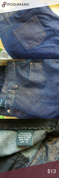 """Size 22 Jeans  BLue with shiny Copper tint. Inseam 28"""".  Dress up or go casual with these nice jeans Avenue Blues Jeans Flare & Wide Leg"""