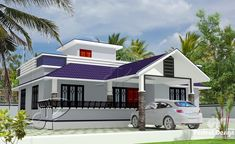 Explore the beautiful features of this captivating modern three bedroom house. This design requires a 111 square meters floor area to stand. 2 Bedroom House Design, House Front Wall Design, Single Floor House Design, Three Bedroom House Plan, Village House Design, Country House Design, Home Design Floor Plans, Kerala House Design, Simple House Design