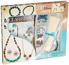 This is a great kit to help you get started in making jewelry.  You will be able to make 2 necklaces, 2 bracelets and 2 pairs of earrings. For only $15.74!