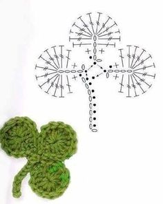Crochet Flower Patterns Part 1 Crochet Leaf Patterns, Crochet Leaves, Crochet Motifs, Crochet Diagram, Freeform Crochet, Crochet Chart, Diy Crochet, Crochet Flowers, Crochet Stitches