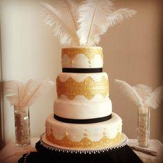 Nailed the brief I think! Gatsby Theme, Gatsby Wedding, Gold Lace, Black Ribbon, 60th Birthday, Feathers, Wedding Cakes, Wedding Inspiration, Pearls